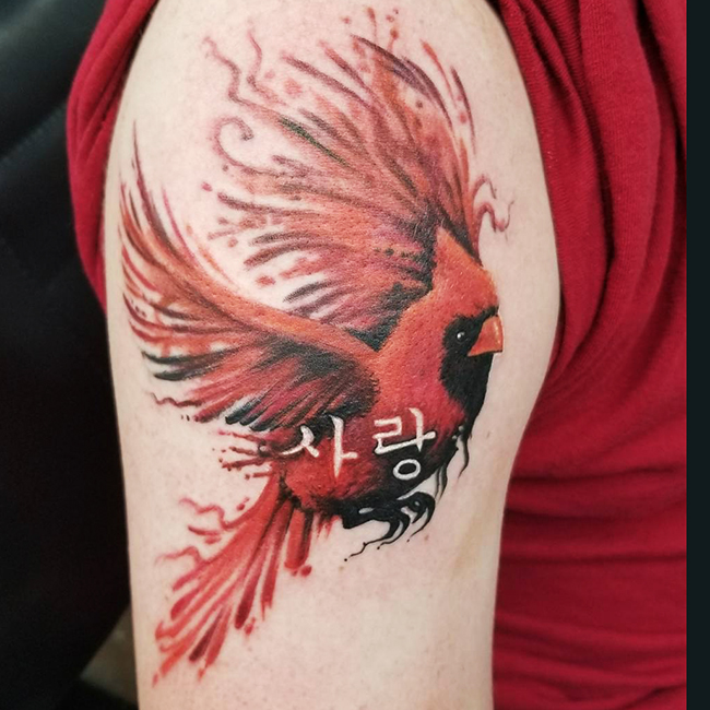 Watercolor Cardinal Tattoo: Austin