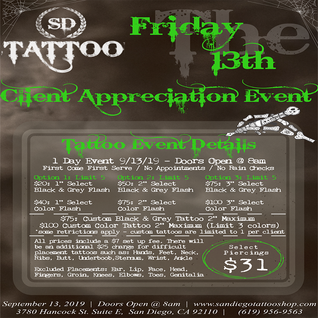 San Diego Friday 13th Tattoo Event Special