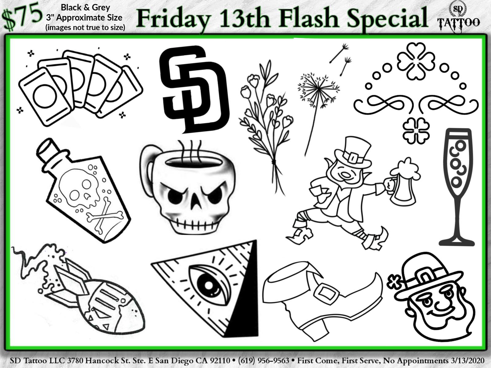 Sd Tattoo Friday 13th Event Flash Tattoo Piercing Discounts